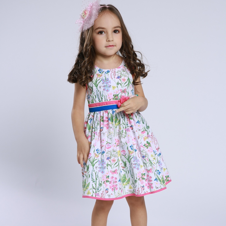 11269#High quality cotton party dress kids fancy floral dress baby clothes