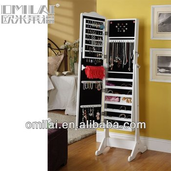 Enitial Lab Emlia Cheval floor Mirror with Jewelry Armoire - Espresso