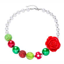 Children handmade acrylic beads necklace red resin roses pearl beaded necklace jewelry