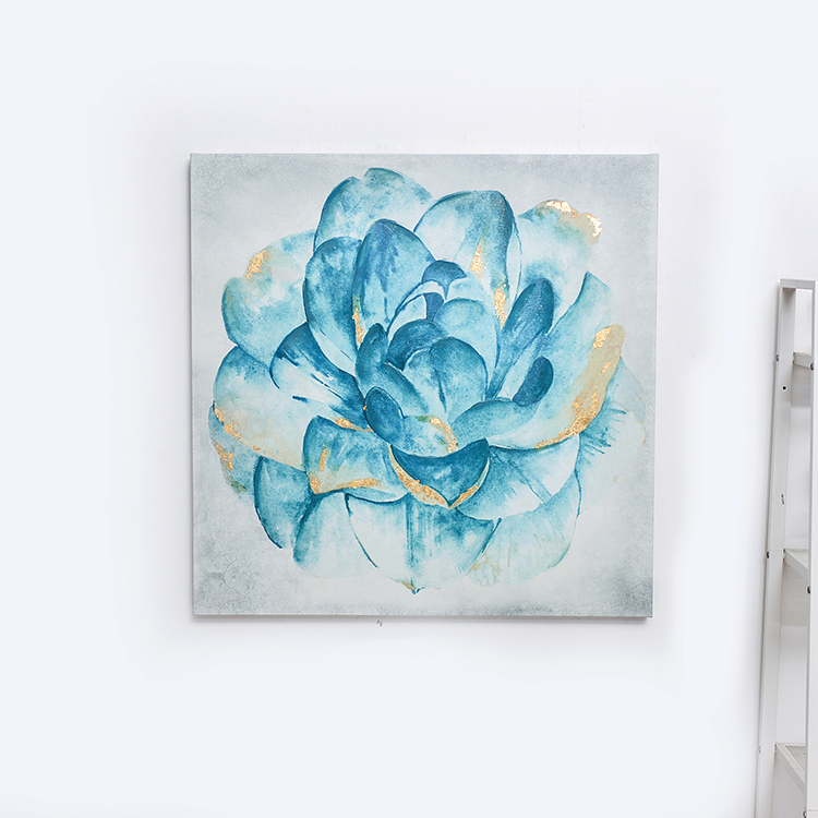 High quality goods blue handmade flower canvas oil painting