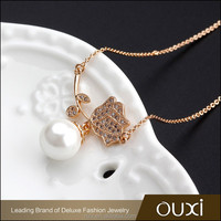 OUXI 2016 top design gift gold plated freshwater pearl necklace 11466