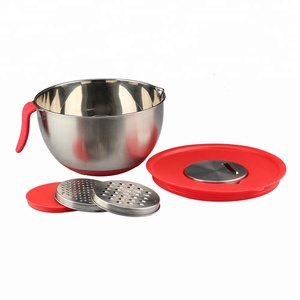 Stainless Steel Mixing Bowl With Tongue handle and Grater