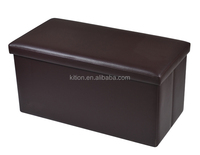 Factory Wholesale Classical Solid Brown PVC Home Bench Storage Ottoman Stool/ Magic Foldable Ottoman/Storage Box