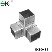 stainless steel 3 way square tube connectors