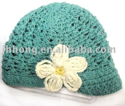 Kid's crochet cap/knit baby hat with flower