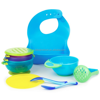 Baby Feeding Set: Spill Proof Baby Bowl + Mash Bowl + Spoon / Fork + Bib, Customized Packaing, Private Labeling