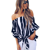 2018 ladies clothing Off The Shoulder Vertical Stripes Black woman tops wholesale