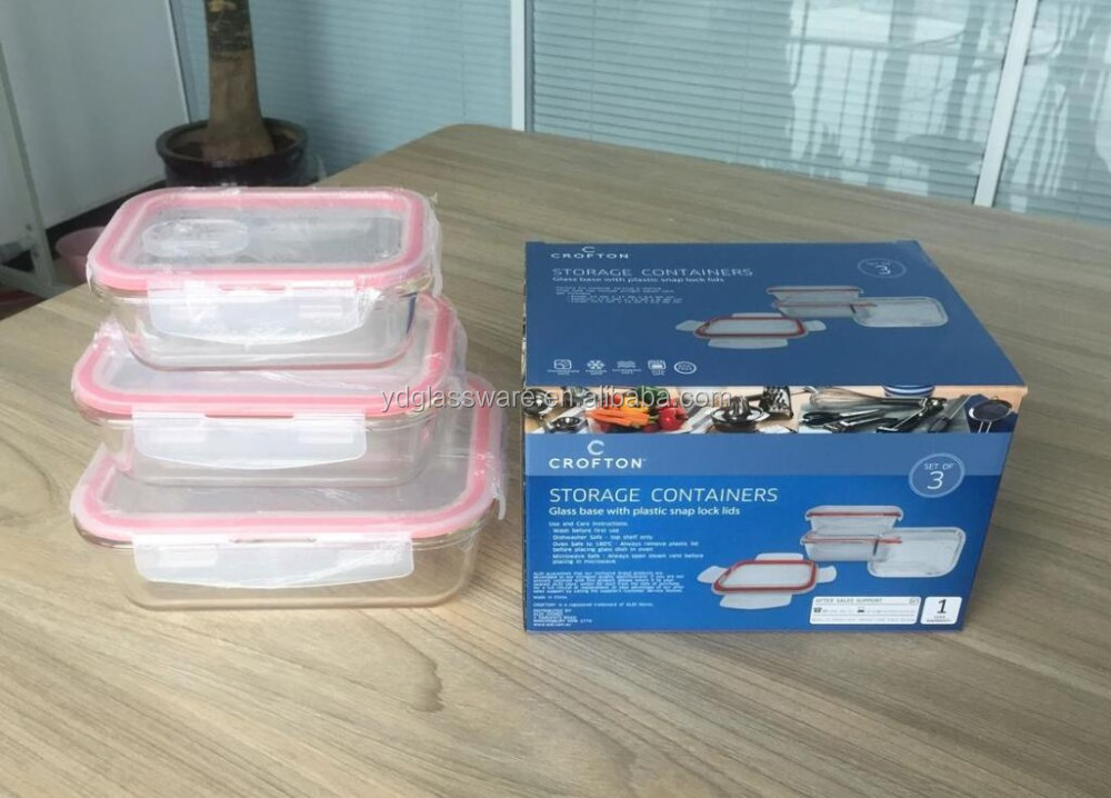 Hot Selling Glass Food Storage 3pcs Set Plexiglass Food Containers