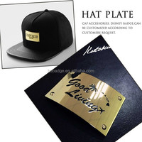 Custom gold metal hat plate/Beanie hats metal logo plates/Gold plated engrave logo plate