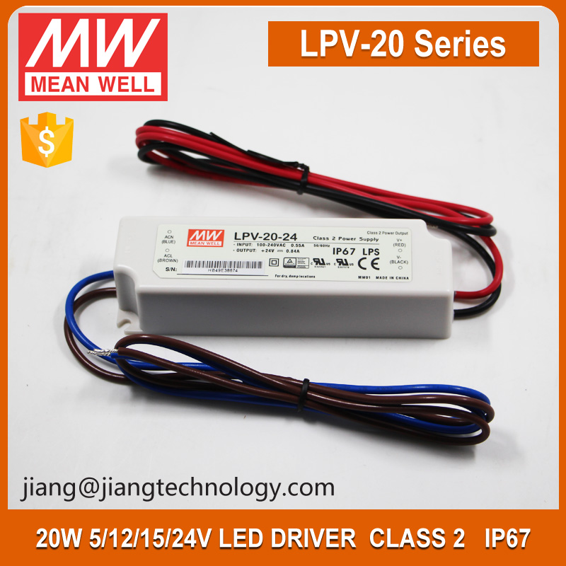 20W 15V Power Supply Meanwell LPV-20-15 IP67 Waterproof Electronic LED Driver