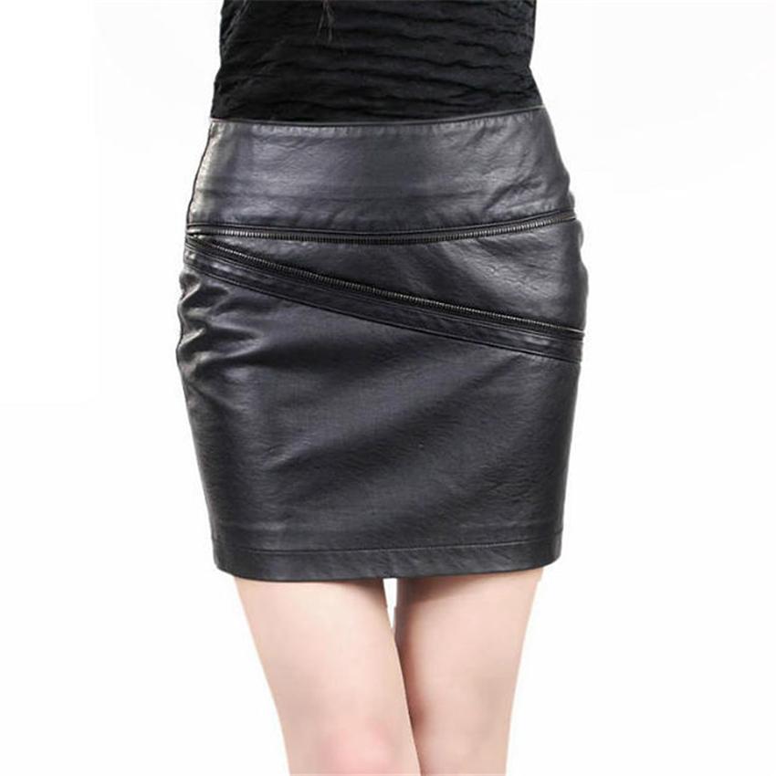 8624d83c997 Get Quotations · Black Patchwork Slim High Waist PU Faux Leather Pencil  Skirt Bodycon Mini Skirts Womens Summer Saia