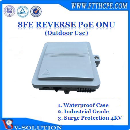8FE Reverse PoE EPON ONU FTTB MDU with Waterproof Case/4KV Surge Protection same function with Huawei MA5626 MDU