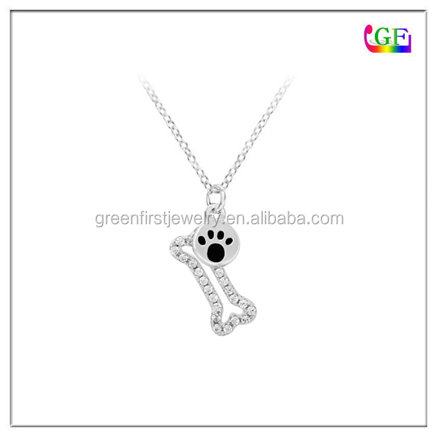 Silver White crystal Tiny Dog Bone Pendant Necklace with black Paw Print