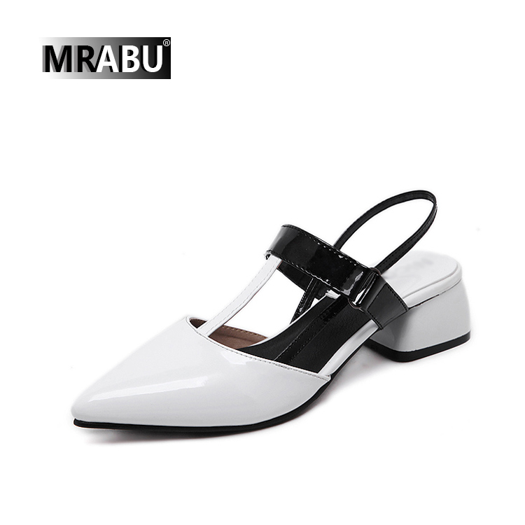 black white point closed toe buckle strap 5cm low chuknky heel leather ladies summer sandals sepatu women