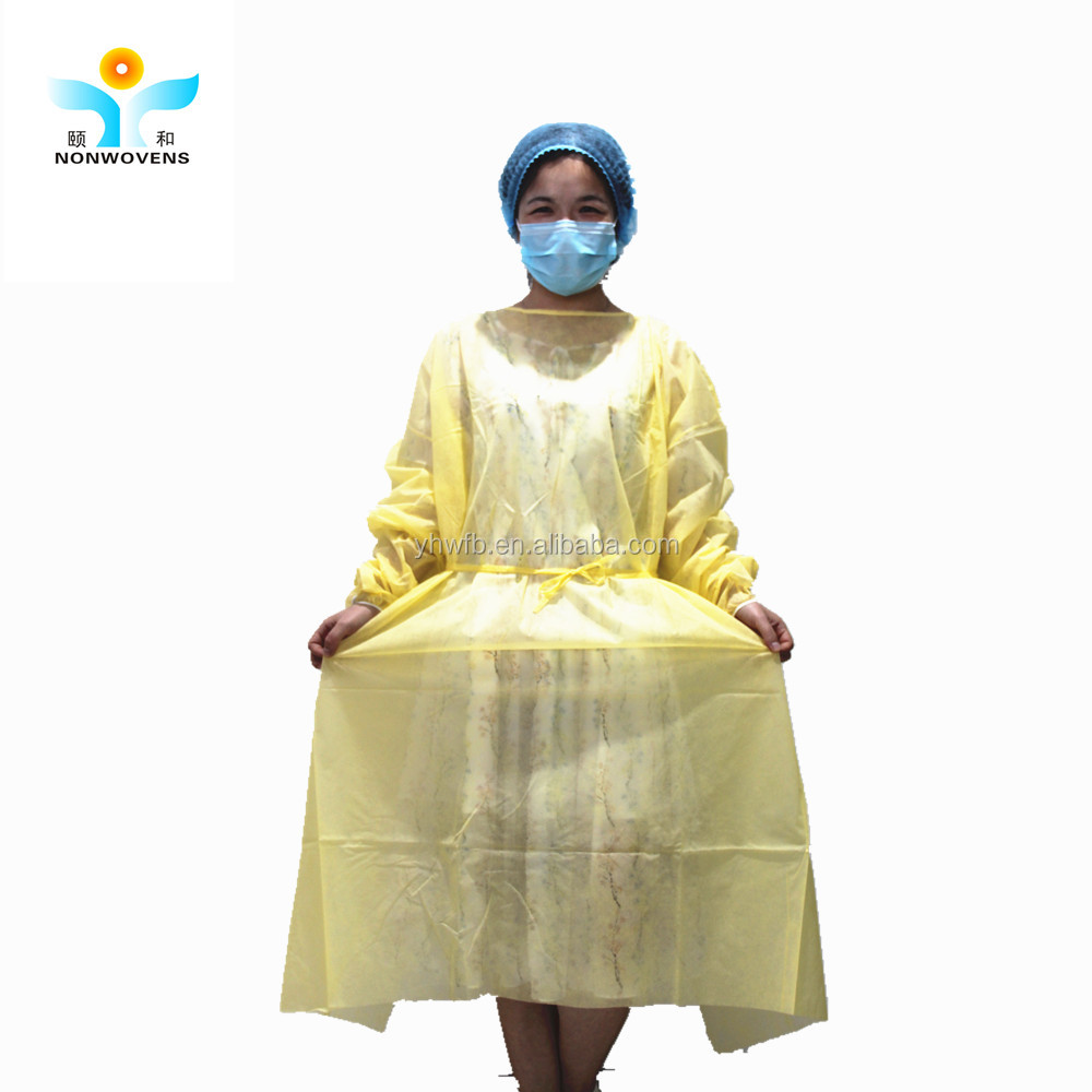 Spunbond Nonwoven Disposable Isolation Gown Pp Single Use Hospital ...