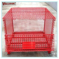 Folding mesh box wire cage metal bin storage container