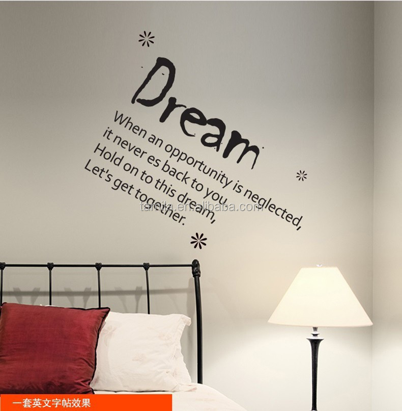 New Arrival English Office wall sticker struggle and dream Removable Wall Sticker for home Decoration