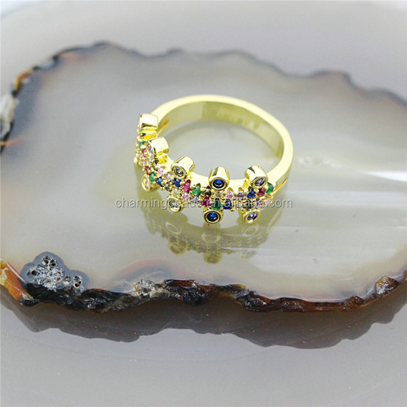 CH-CKR0020 Rainbow cz micro pave charm ring,delicate colorful zircon inlay ring,snake/eye design cz jewelry cheap wholesale