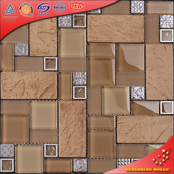 Tc13 acero inoxidable vidrio marco mix mosaico baldosas for Ceramica para pared