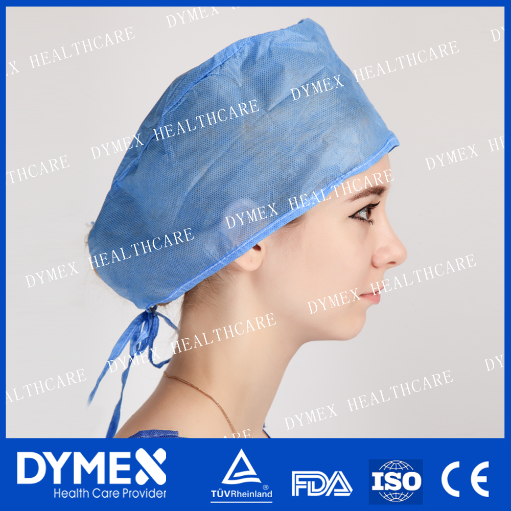 Disposable Surgeon Cap with Spunlace 14-40GSM on Top for Operating Room