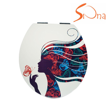 High quality MDF water colorful printing duroplast custom made toilet seats