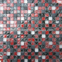 Red And Black Ice Crackle Square Glass Mix Travetine Mosaic Tile