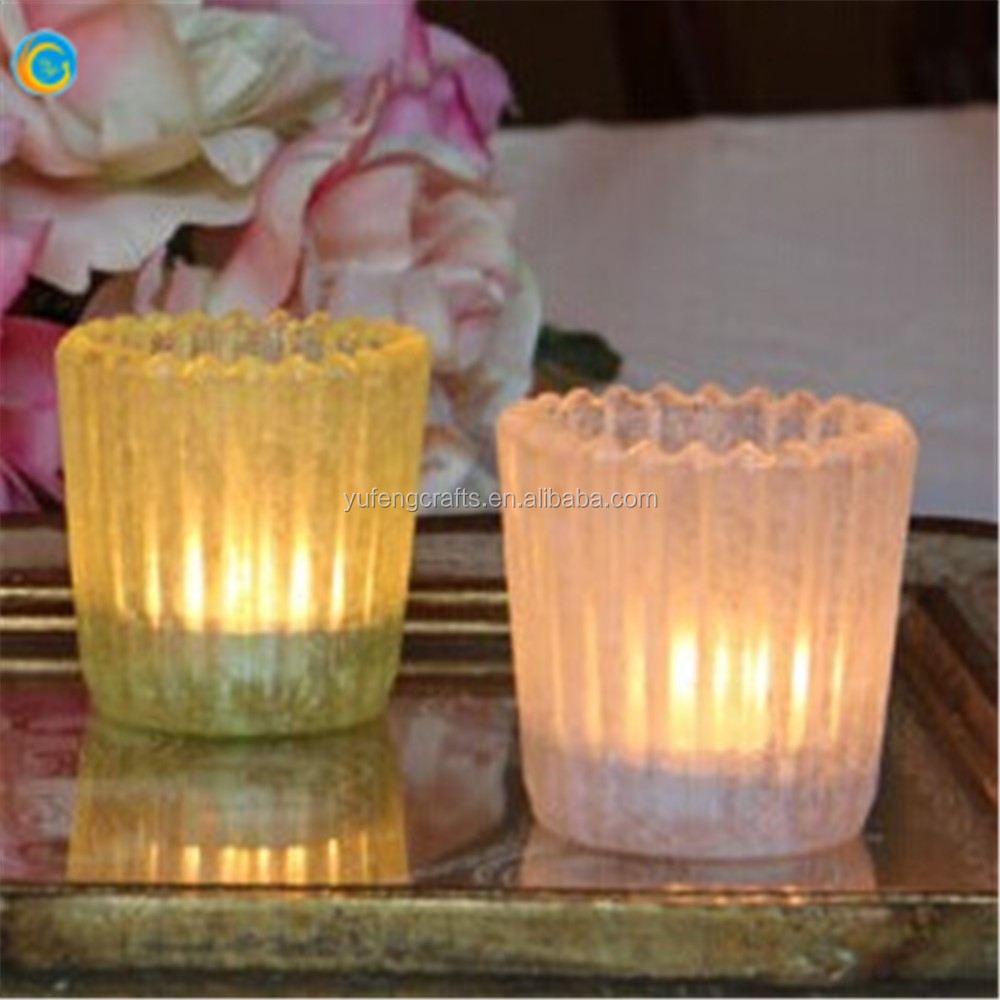 Glass Votive pink purple Tea Light Candle Holders