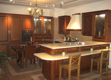 Hot selling high gloss Mediterranean style cherry,maple,teak, solid wood kitchen furniture