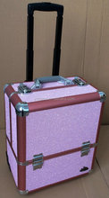 Pink trolley makeup tool case rolling beauty case high quality SORISE brand case