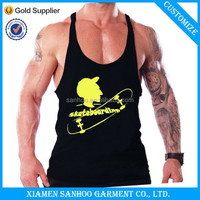 Best Quality Customized Logo Printed Muscle Singlets Fashion Gym T-Back Wear