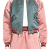 Colorblock Duchesse Satin Baseball Jacket Bomber