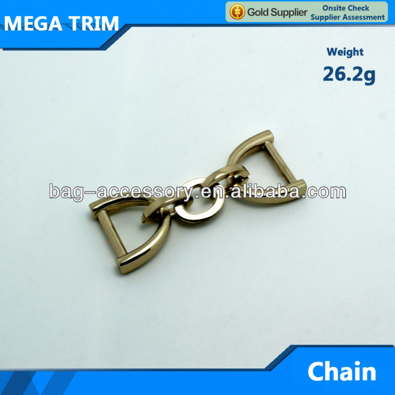No.20172 light gold zinc alloy bag parts accessory with two rings