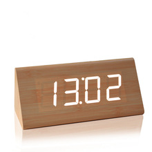 ZOGIFT Imitation Wood LED Red Light Digital Cuboid Cube Voice Control Alarm Clock with Time Date Temperature Display
