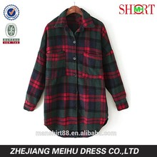 2017 custom women fashion plaid flannel shirts