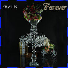 2016 fashion crystal wedding decoration floor standing candle holders for wedding decoration
