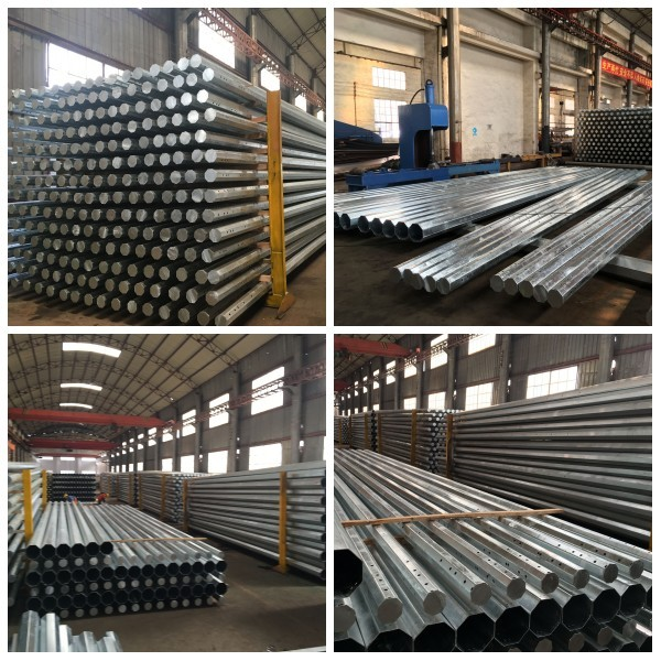 Galvanized electric power steel pole for transmission tower,tower pole