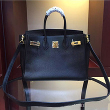 Manufacurer OEM made 25cm 30cm high quality black women litchi leather all name brand handbags L-RB3-3