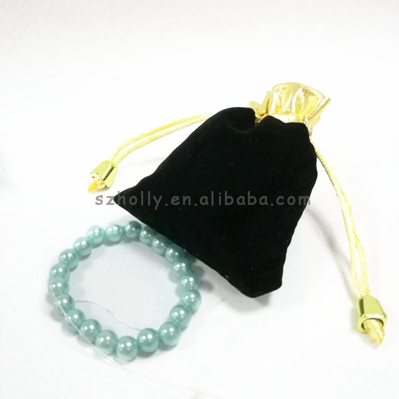 Cute Velvet Bag 10*8cm <strong>Black</strong> And Golden Velvet Gift Bags Velvet Packaging Bags