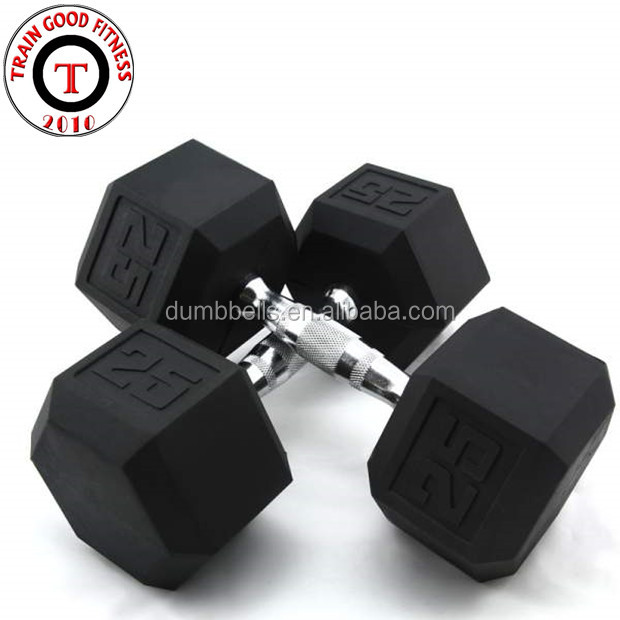 Wholesale Weight Lifting Coated Hex Rubber Dumbbell