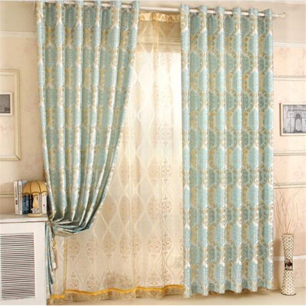 Eyelet curtains blue jacquard curtains with matching sheer