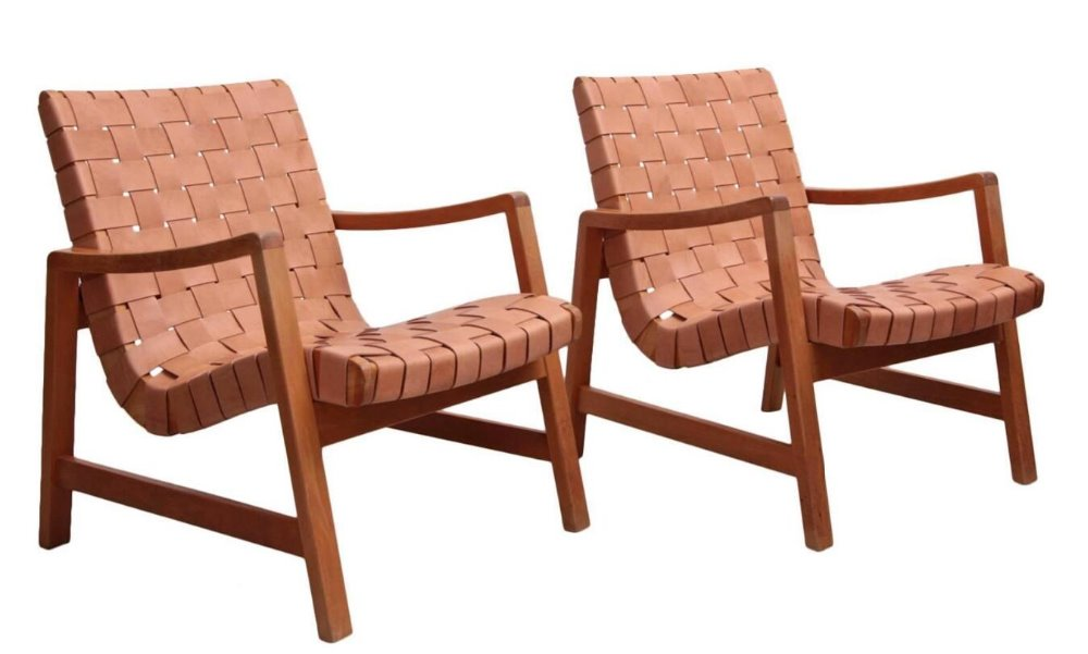 Early Jens Risom Armchairs /Leather webbing Lounge Chair / Woven straps chair