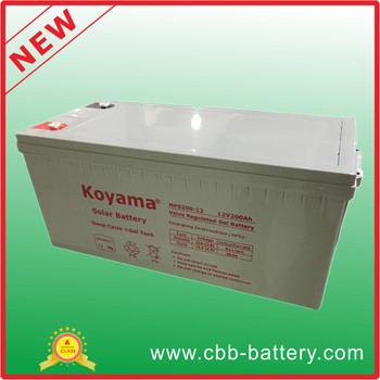 high quality 200ah 12V deey cycle gel inverter battery NPS200-12