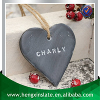 Factory Direct Price 8*8*0.5cm Engrave Christmas Tree Decoration Heart Shape Design Slate Hanging Crafts Wholesale