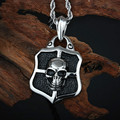 Heavy Iron Cross Skull Black Silver Stainless Steel Pendant Necklace