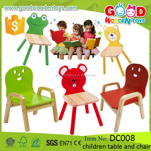 New Arrival Kindergarten Furniture Wood Preschool Kids Baby Cartoon Table and Chairs Kids Animal Chairs