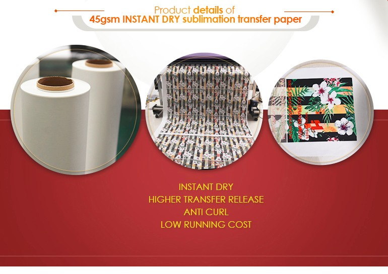 Quick Dry 45 , 60 , 70, 80, 90 ,100gsm sublimation paper roll Polyester Transfer / mini jumbo roll for Textile , Clothing