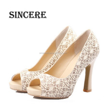 Lace Material Upper Peep Toe Style Girl Fashion High Heel Shoes