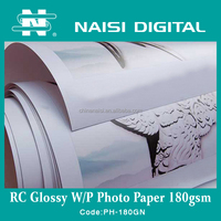 High Quality 180g Waterproof glossy RC Photo Printing Paper For Inkjet Printer