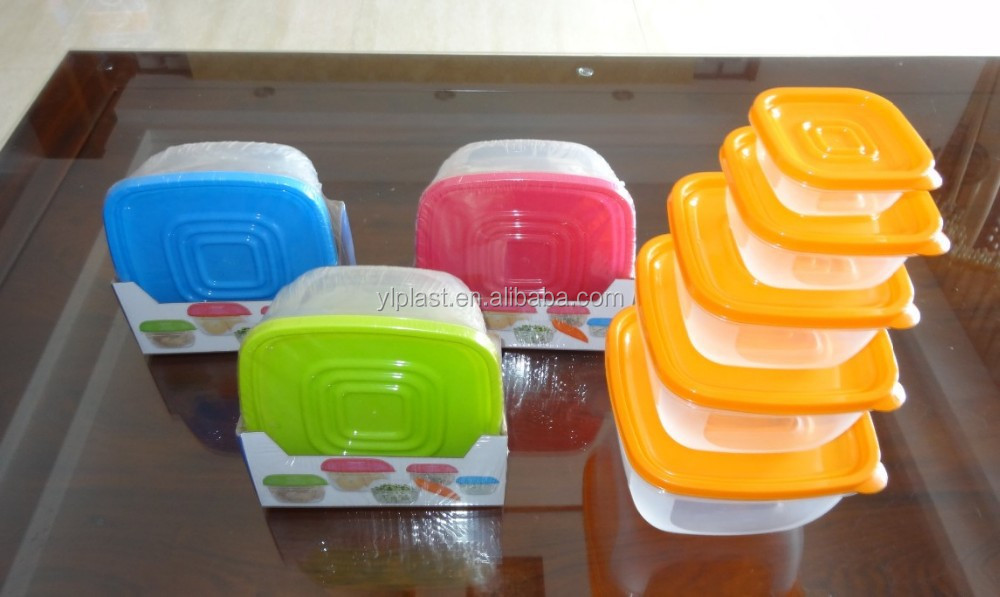 Popular 5 pcs set square plastic food storage container with color box