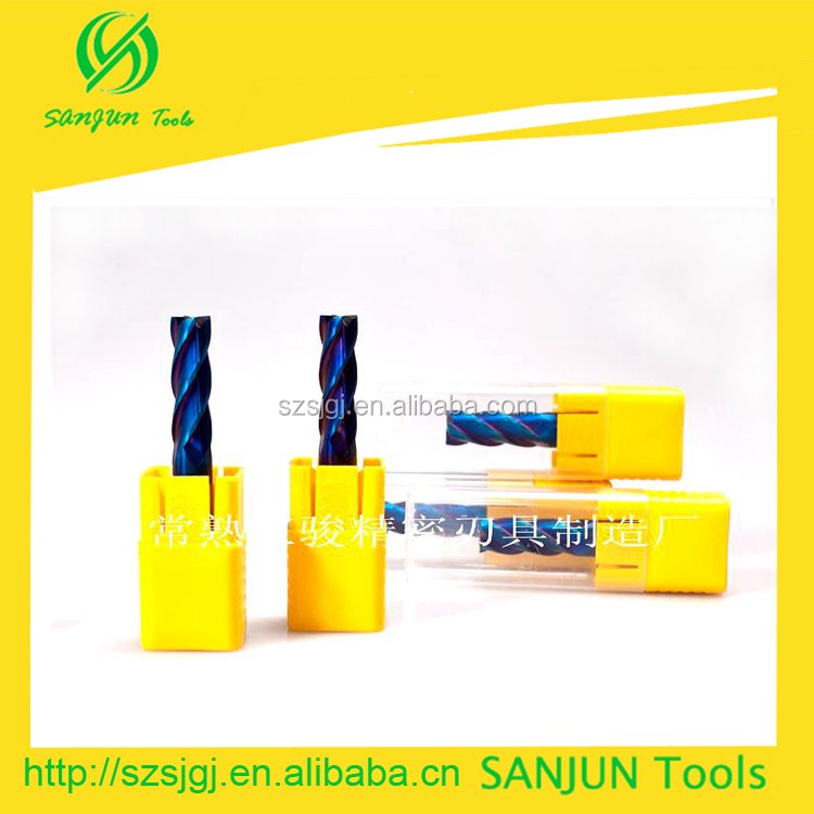 SuzhouSanjun Tools.Slotting machine carbide cutting tool /HRC 65 carbide square end milling cutter